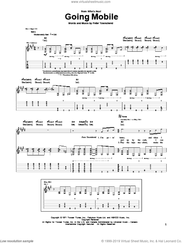 Going Mobile sheet music for guitar (tablature) by The Who. Score Image Preview.