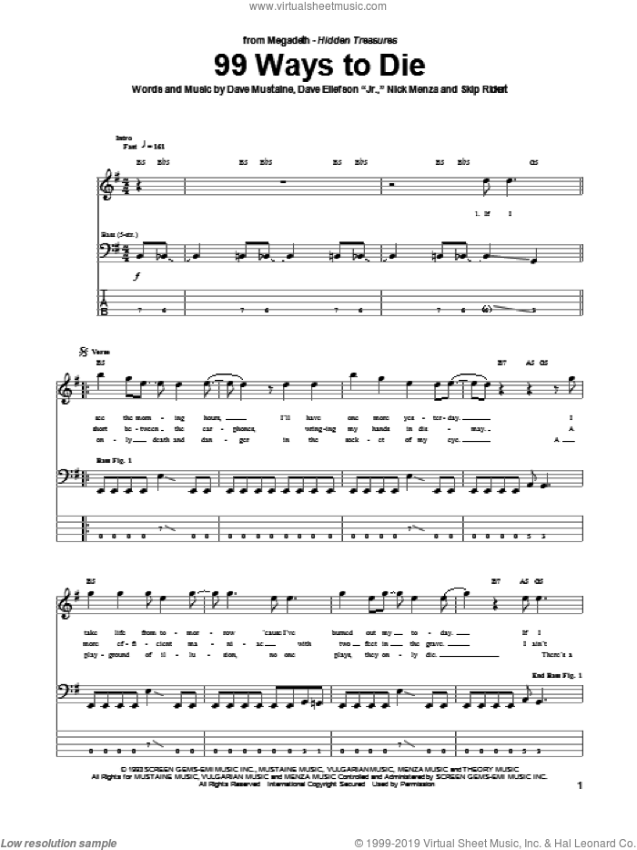 99 Ways To Die sheet music for bass (tablature) (bass guitar) by Megadeth. Score Image Preview.