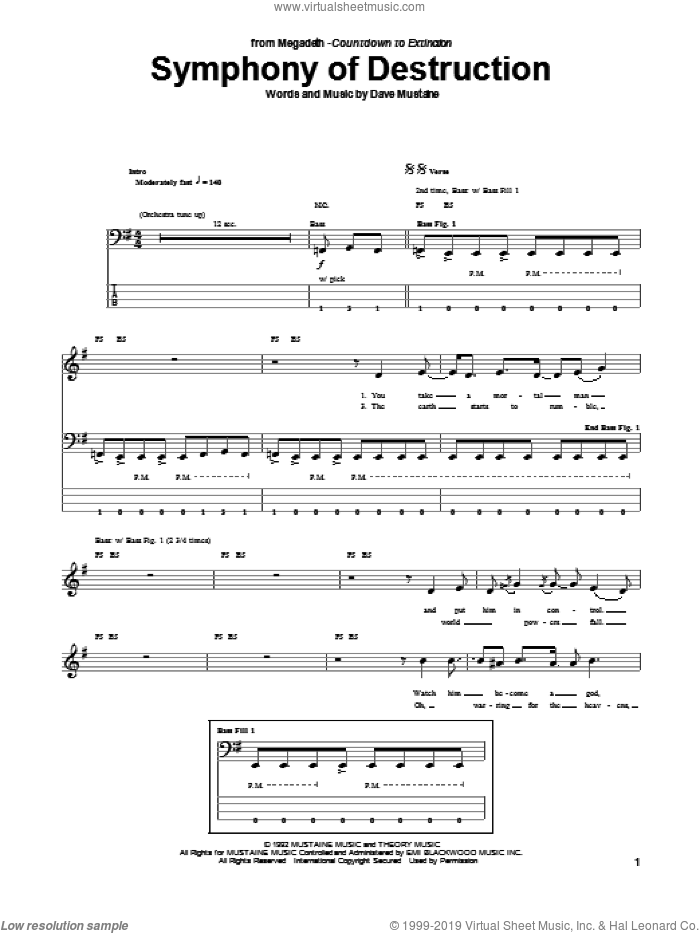 Symphony Of Destruction sheet music for bass (tablature) (bass guitar) by Megadeth, intermediate skill level