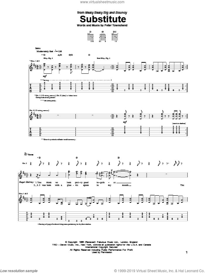 Substitute sheet music for guitar (tablature) by The Who, intermediate skill level