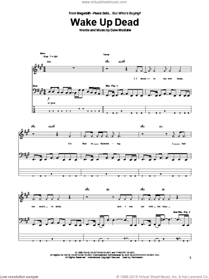 megadeth wake up dead sheet music for bass tablature bass guitar. Black Bedroom Furniture Sets. Home Design Ideas