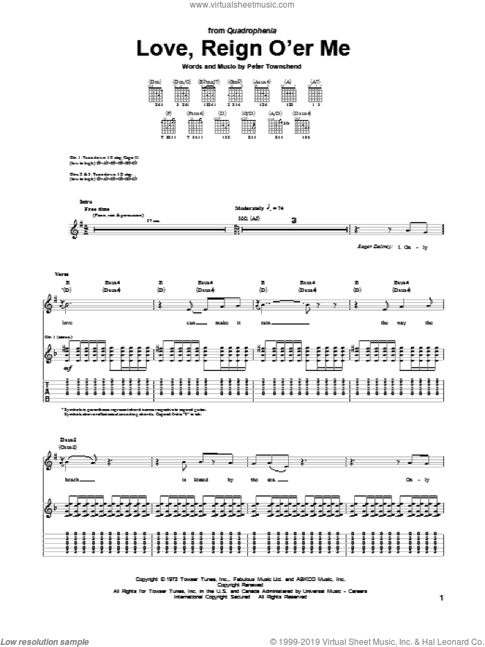 Love, Reign O'er Me sheet music for guitar (tablature) by The Who, intermediate skill level
