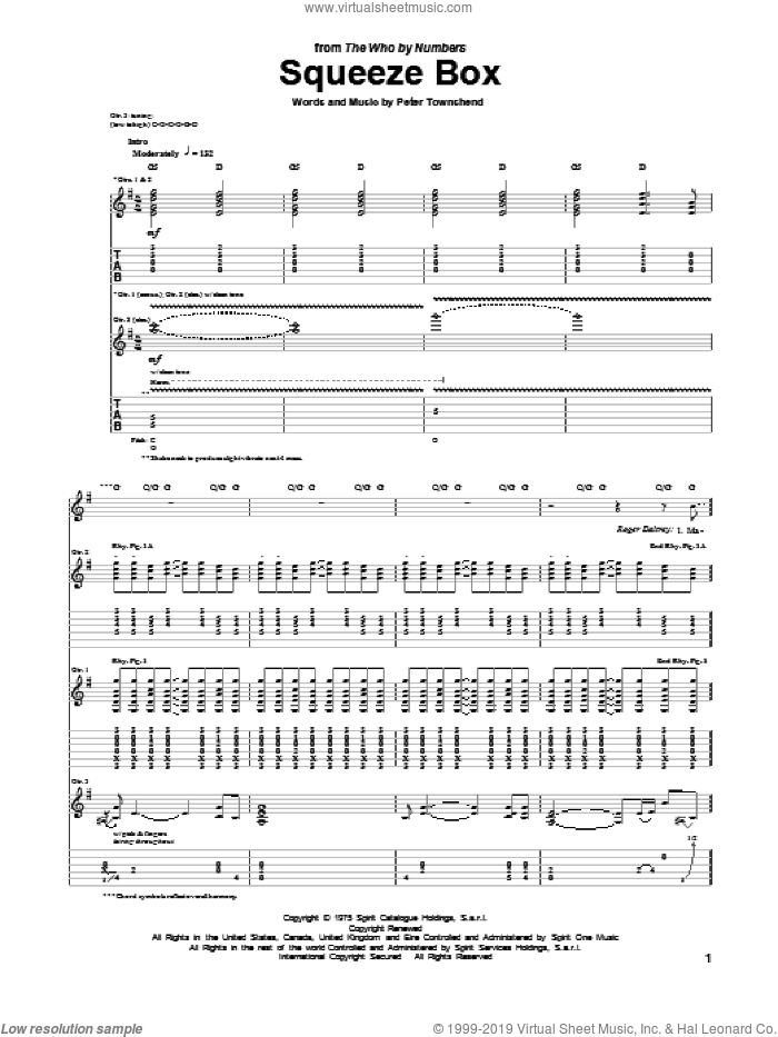 Squeeze Box sheet music for guitar (tablature) by The Who. Score Image Preview.