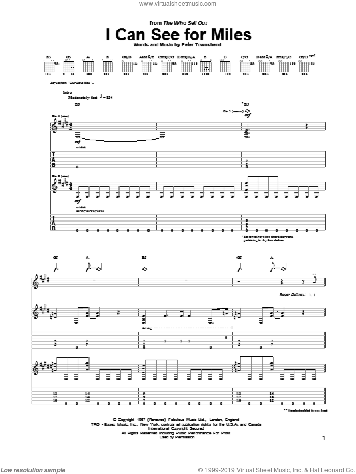 I Can See For Miles sheet music for guitar (tablature) by The Who, intermediate guitar (tablature). Score Image Preview.