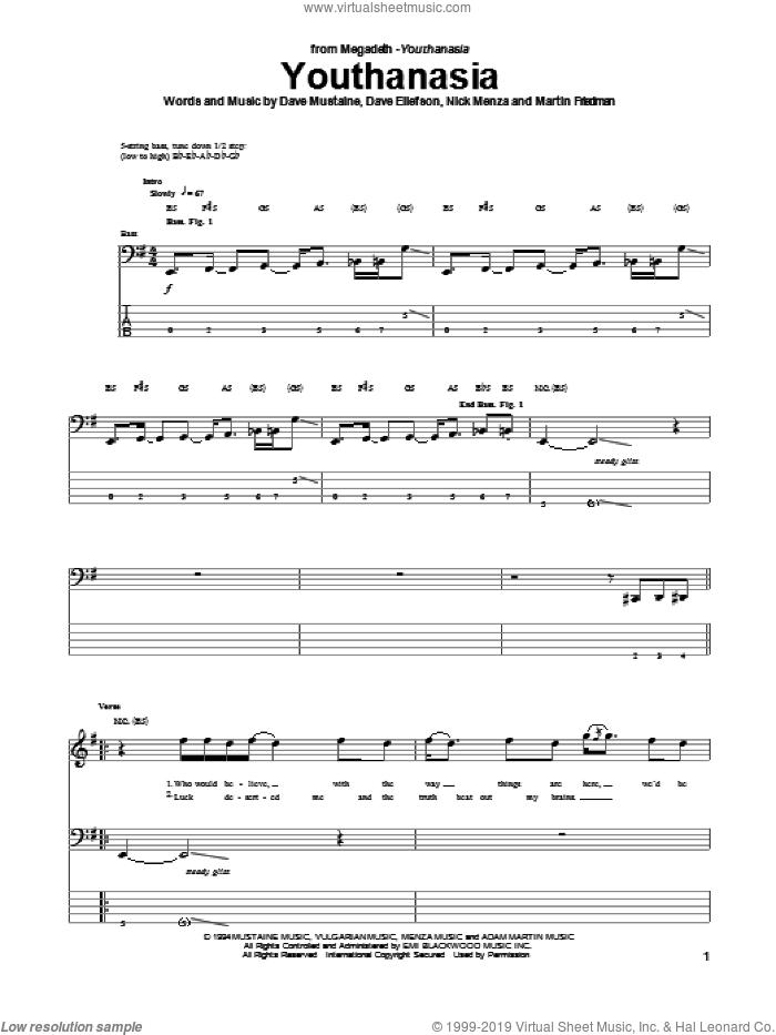 Youthanasia sheet music for bass (tablature) (bass guitar) by Megadeth. Score Image Preview.