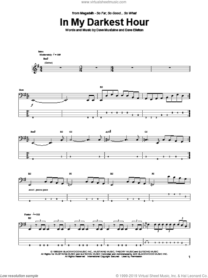 In My Darkest Hour sheet music for bass (tablature) (bass guitar) by Megadeth. Score Image Preview.