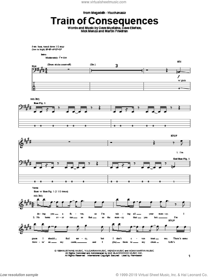 Train Of Consequences sheet music for bass (tablature) (bass guitar) by Megadeth, intermediate. Score Image Preview.