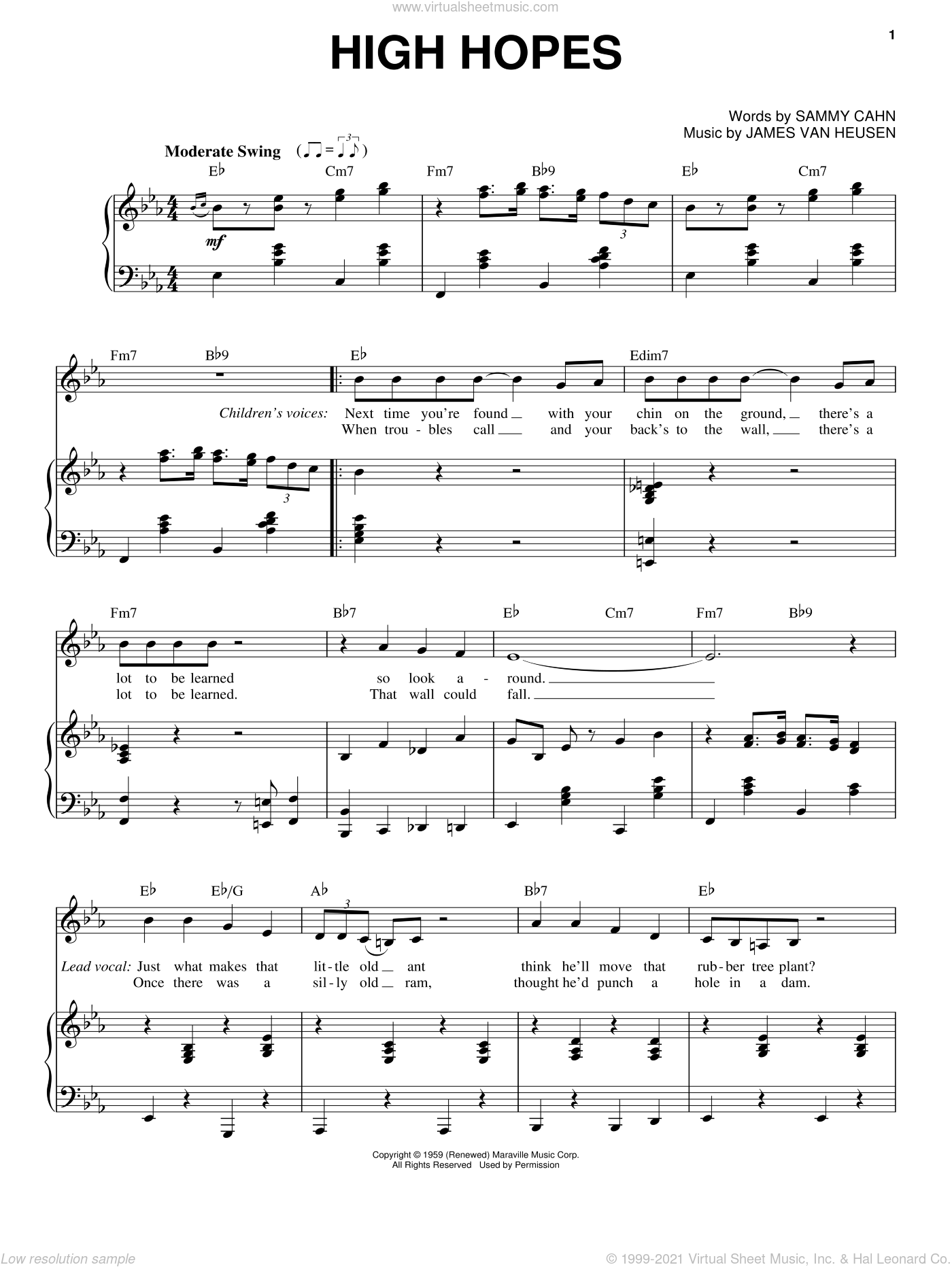 High Hopes sheet music for voice and piano by Frank Sinatra, Jimmy van Heusen and Sammy Cahn, intermediate skill level