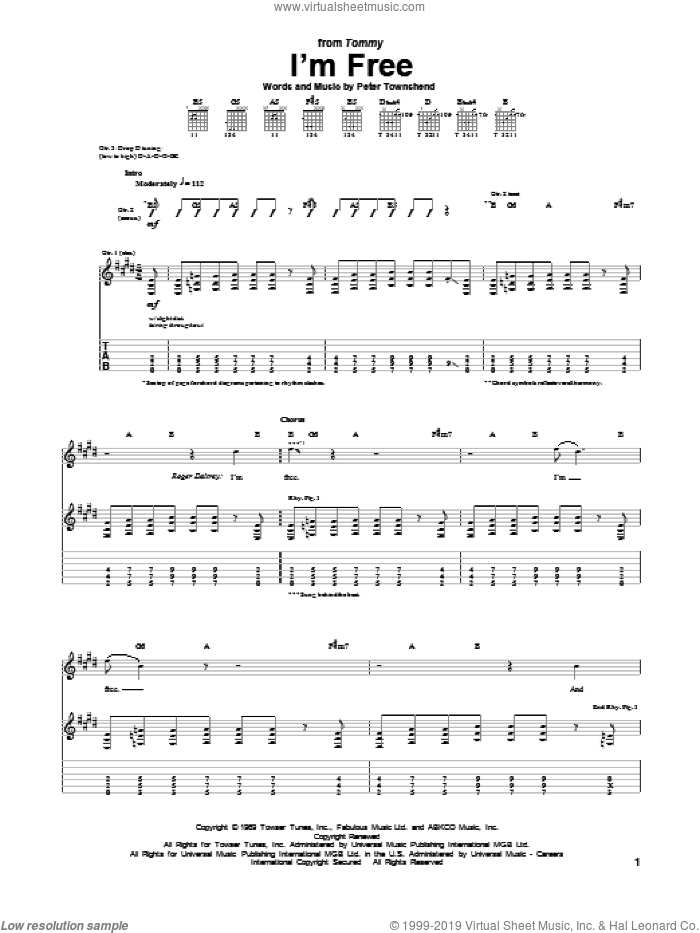 I'm Free sheet music for guitar (tablature) by The Who. Score Image Preview.