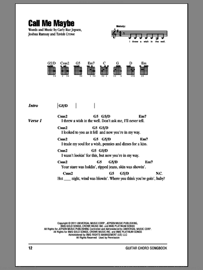 Call Me Maybe sheet music for guitar (chords) by Carly Rae Jepsen. Score Image Preview.