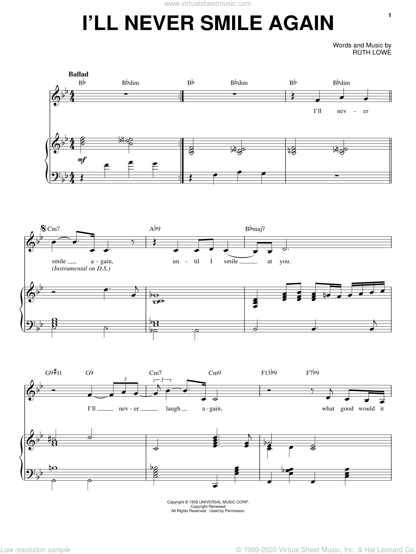 I'll Never Smile Again sheet music for voice and piano by Frank Sinatra, Tommy Dorsey and Ruth Lowe, intermediate skill level