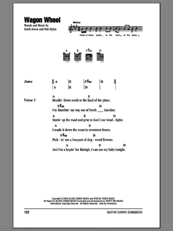 Wagon Wheel sheet music for guitar (chords) by Bob Dylan, Darius Rucker and Old Crow Medicine Show, intermediate skill level