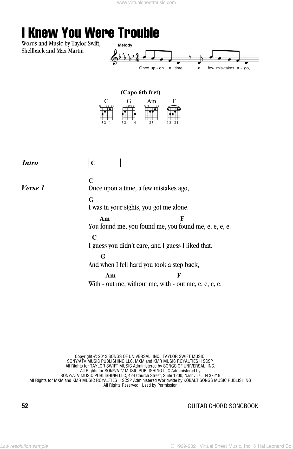 Swift I Knew You Were Trouble Sheet Music For Guitar Chords