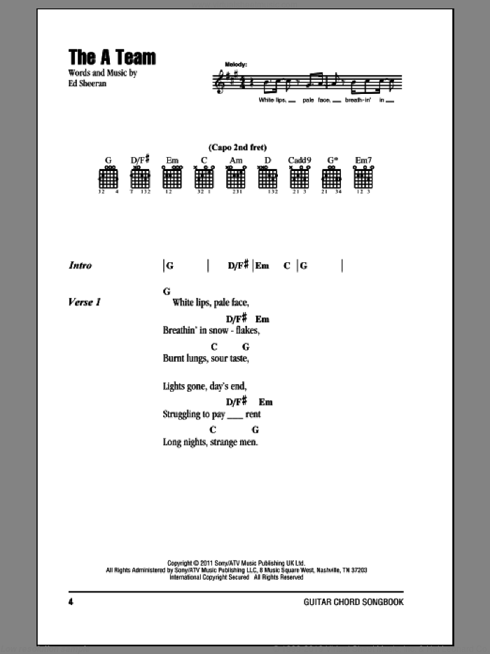 The A Team sheet music for guitar (chords) by Ed Sheeran. Score Image Preview.