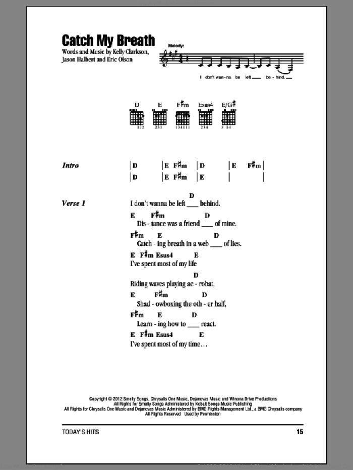 Catch My Breath sheet music for guitar (chords) by Kelly Clarkson. Score Image Preview.