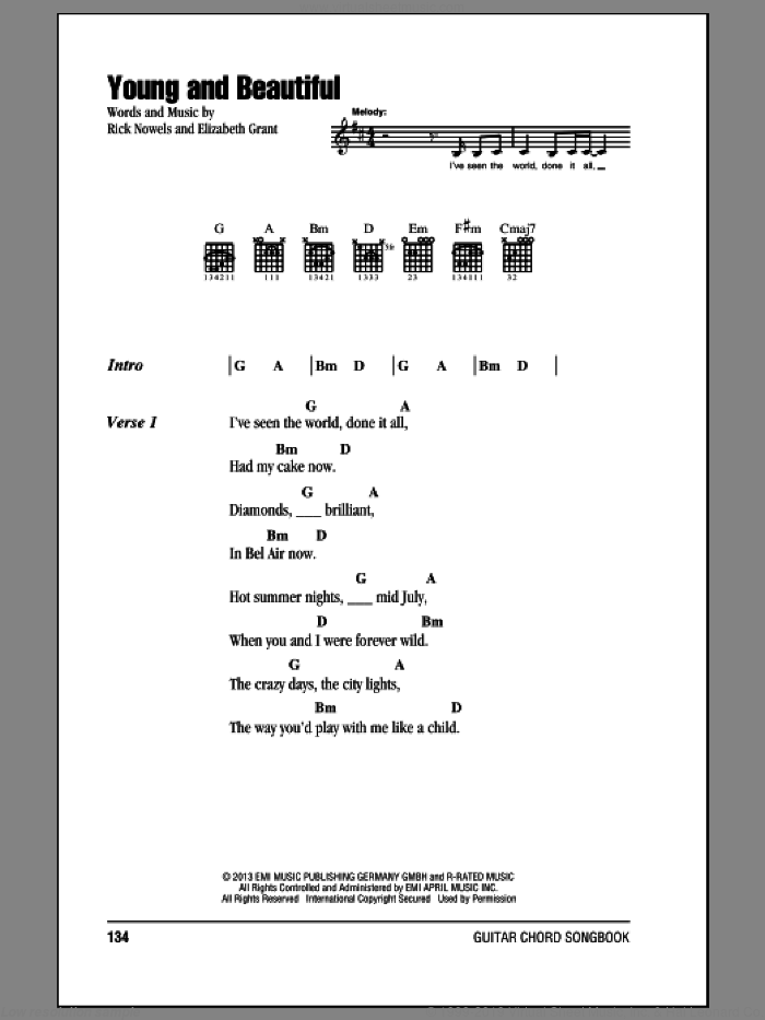 Young And Beautiful sheet music for guitar (chords) by Lana Del Ray, intermediate. Score Image Preview.