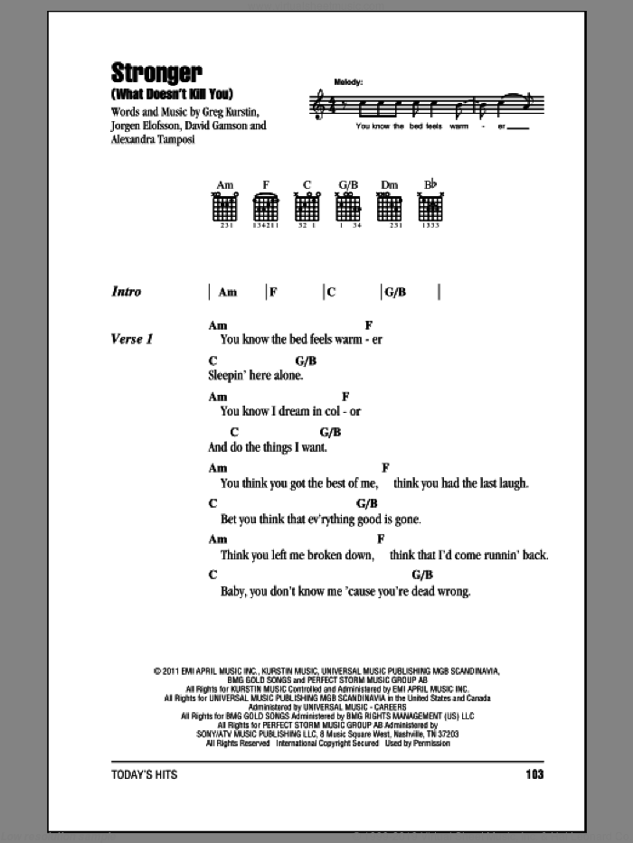 Stronger (What Doesn't Kill You) sheet music for guitar (chords) by Kelly Clarkson. Score Image Preview.