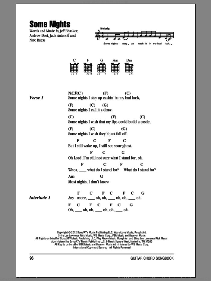 Some Nights sheet music for guitar (chords) by fun.. Score Image Preview.