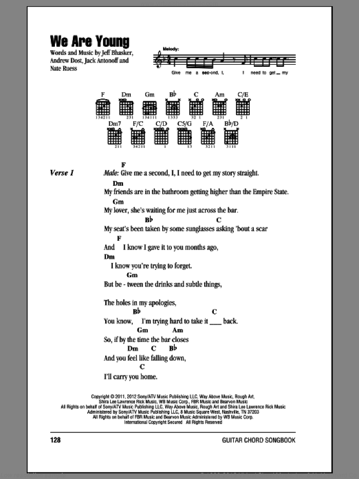 We Are Young sheet music for guitar (chords) by Fun. Score Image Preview.