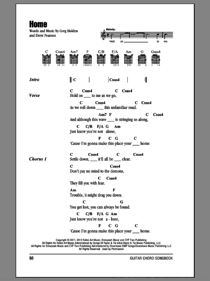 Home sheet music for guitar (chords) by Phillip Phillips, intermediate skill level