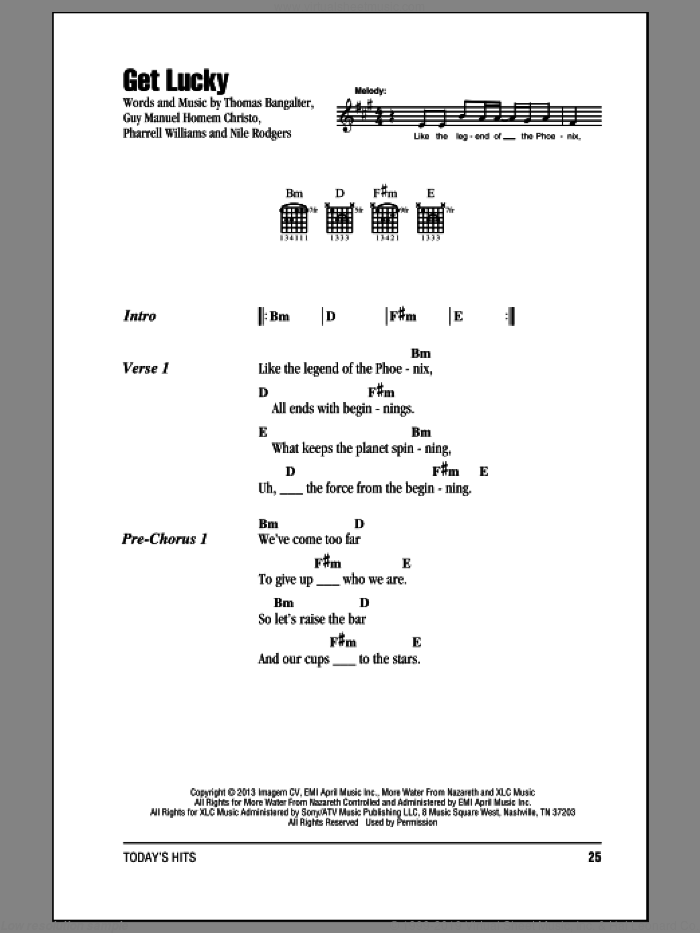 Get Lucky sheet music for guitar (chords) by Daft Punk and Pharrell Williams. Score Image Preview.
