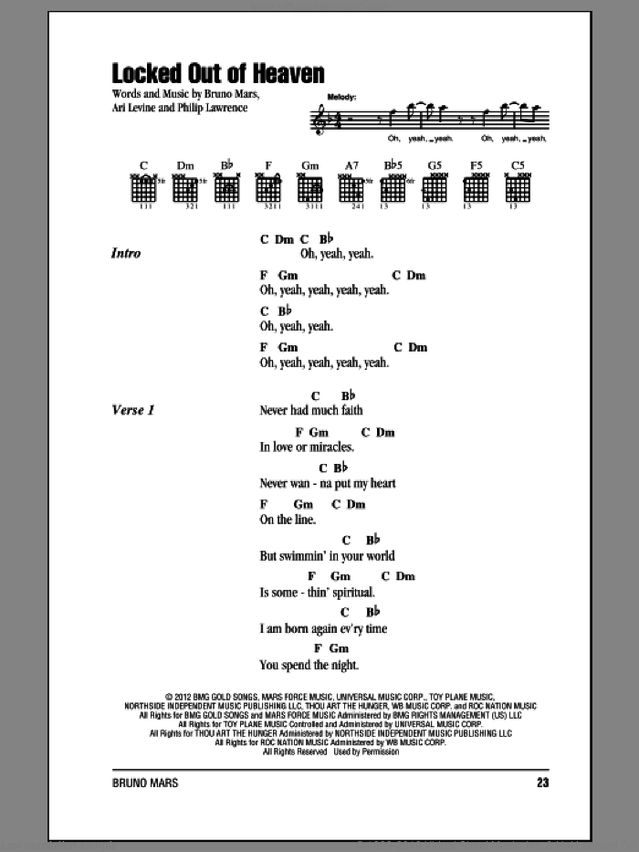 Locked Out Of Heaven sheet music for guitar (chords) by Bruno Mars, intermediate. Score Image Preview.