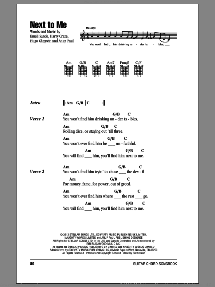 Next To Me sheet music for guitar (chords) by Emeli Sande, intermediate skill level