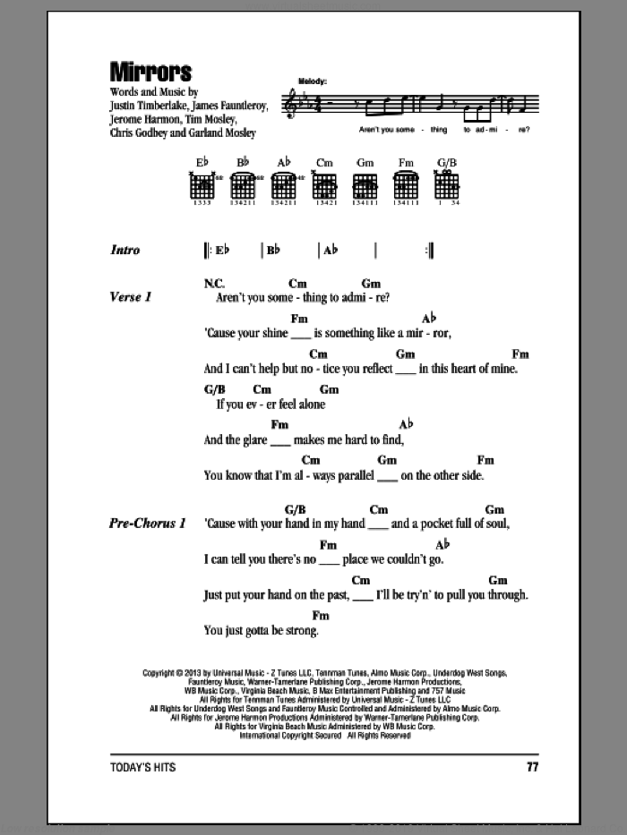 Mirrors sheet music for guitar (chords) by Justin Timberlake, intermediate