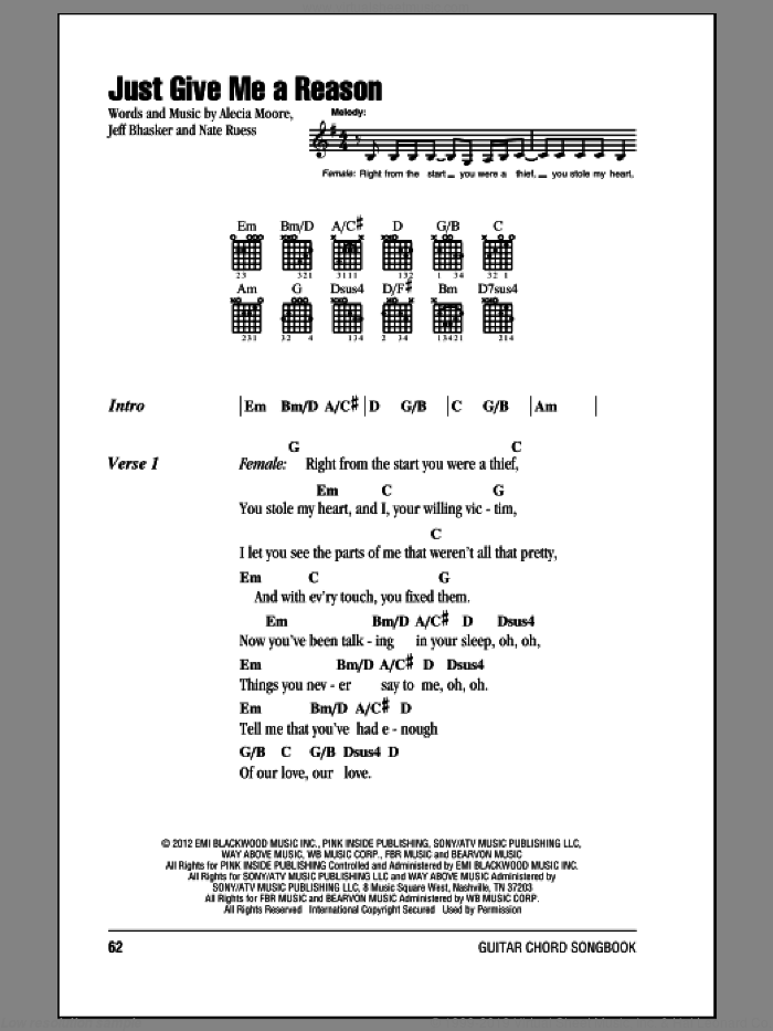 Just Give Me A Reason sheet music for guitar (chords) by Pink featuring Nate Ruess. Score Image Preview.