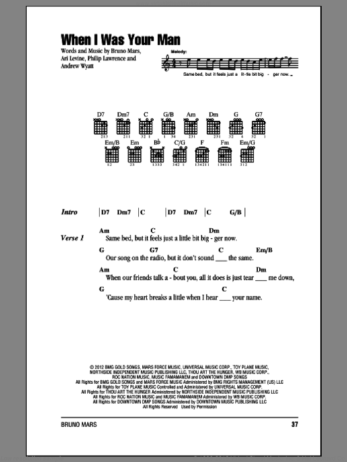 When I Was Your Man sheet music for guitar (chords) by Bruno Mars. Score Image Preview.