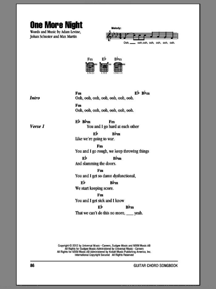 One More Night sheet music for guitar (chords) by Maroon 5. Score Image Preview.