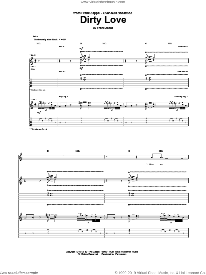 Dirty Love sheet music for guitar (tablature) by Frank Zappa. Score Image Preview.