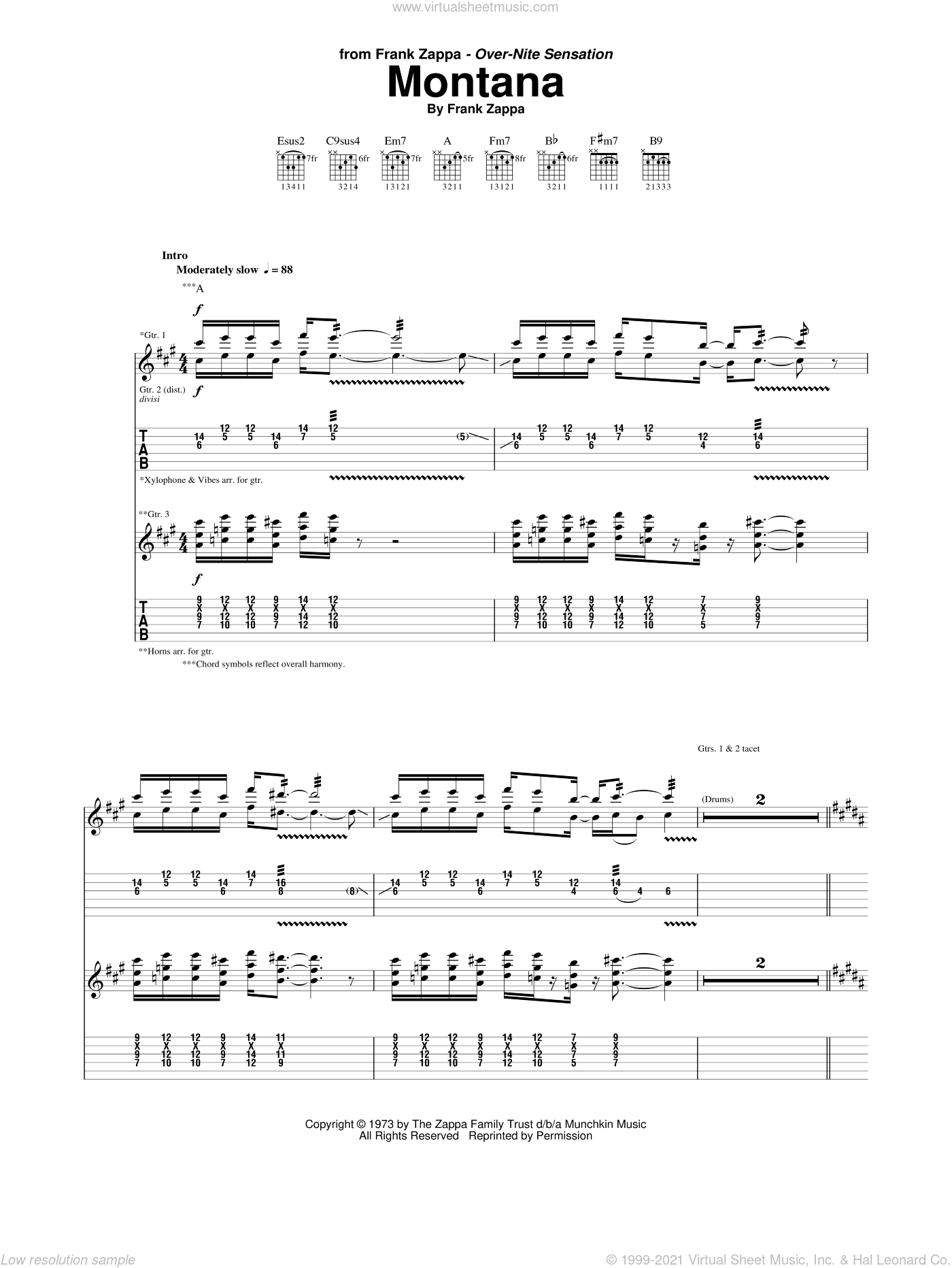 Montana sheet music for guitar (tablature) by Frank Zappa. Score Image Preview.