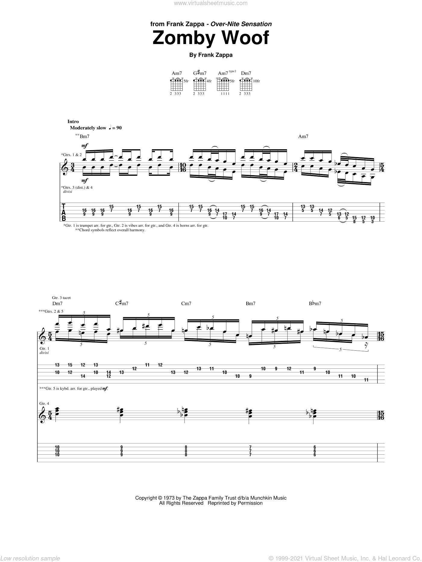 Zomby Woof sheet music for guitar (tablature) by Frank Zappa, intermediate. Score Image Preview.