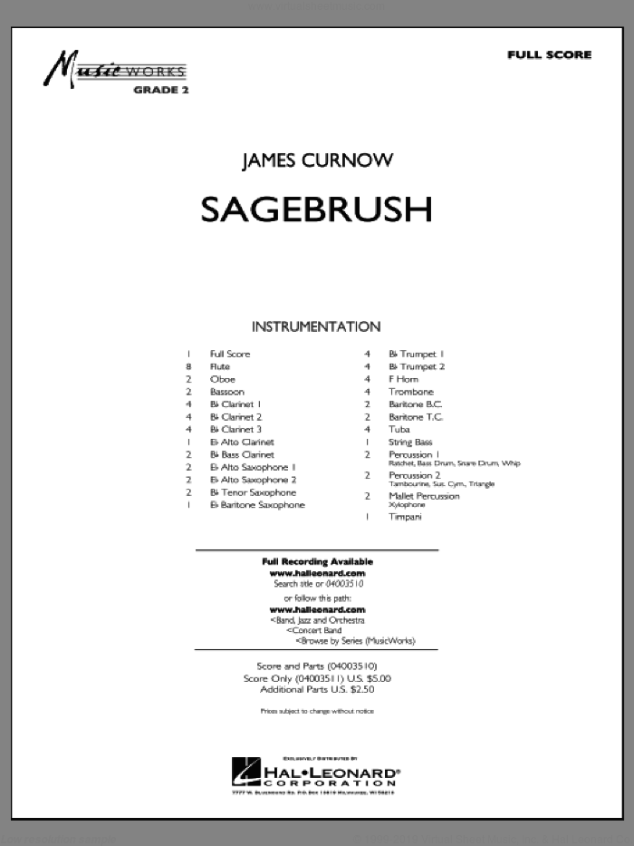 Sagebrush sheet music for concert band (full score) by James Curnow