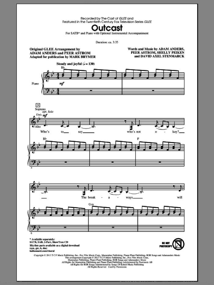Outcast sheet music for choir (SATB: soprano, alto, tenor, bass) by Mark Brymer and Glee Cast, intermediate skill level