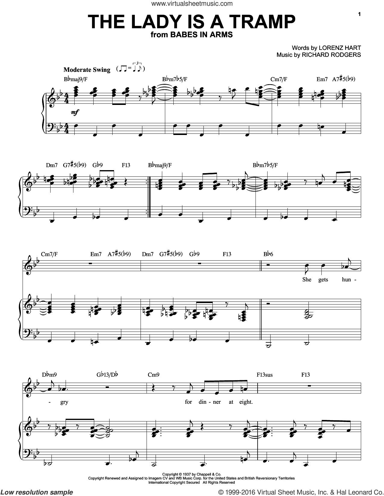The Lady Is A Tramp sheet music for voice and piano by Frank Sinatra, Babes In Arms (Musical), Ella Fitzgerald, Lena Horne, Rodgers & Hart, Lorenz Hart and Richard Rodgers, intermediate skill level