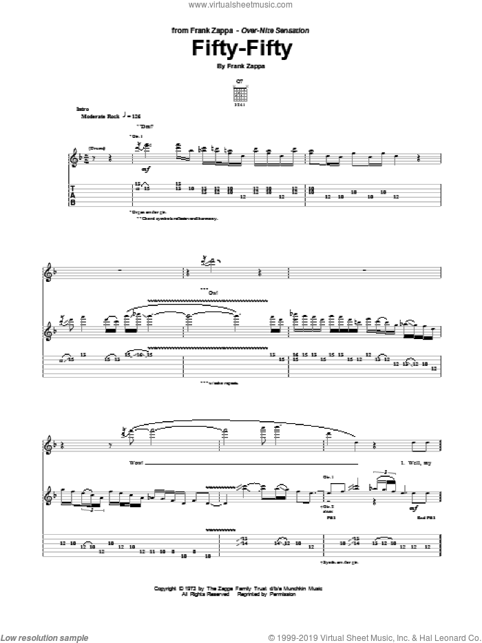 Fifty-Fifty sheet music for guitar (tablature) by Frank Zappa. Score Image Preview.