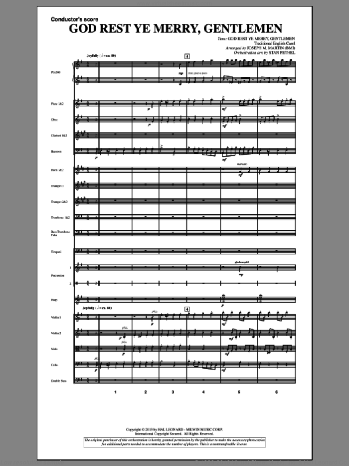 God Rest Ye Merry, Gentlemen (from A Symphony Of Carols) (COMPLETE) sheet music for orchestra/band by Joseph Martin and Joseph M. Martin, Christmas carol score, intermediate orchestra/band. Score Image Preview.