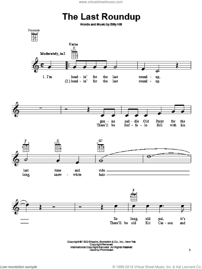 The Last Roundup sheet music for ukulele by Gene Autry, intermediate. Score Image Preview.