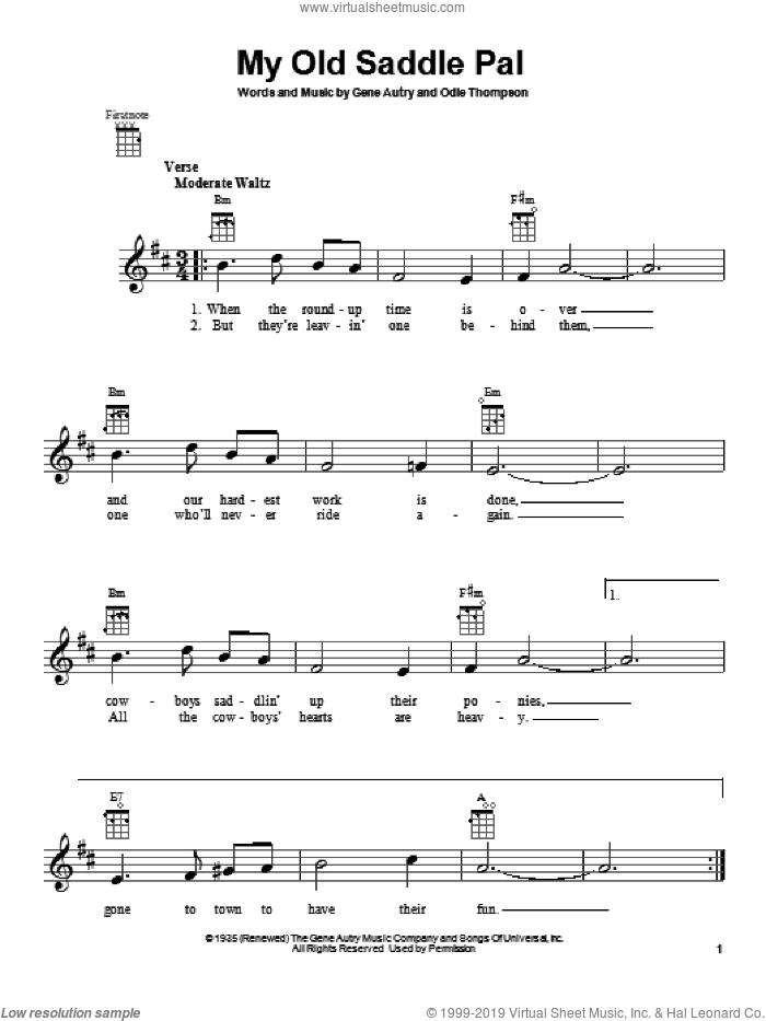 My Old Saddle Pal sheet music for ukulele by Gene Autry. Score Image Preview.