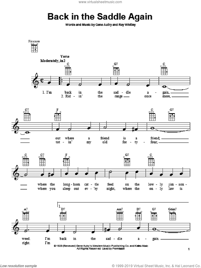 Back In The Saddle Again sheet music for ukulele by Gene Autry and Ray Whitley. Score Image Preview.