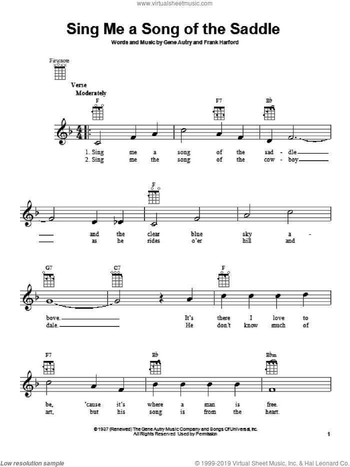 Sing Me A Song Of The Saddle sheet music for ukulele by Gene Autry, intermediate skill level