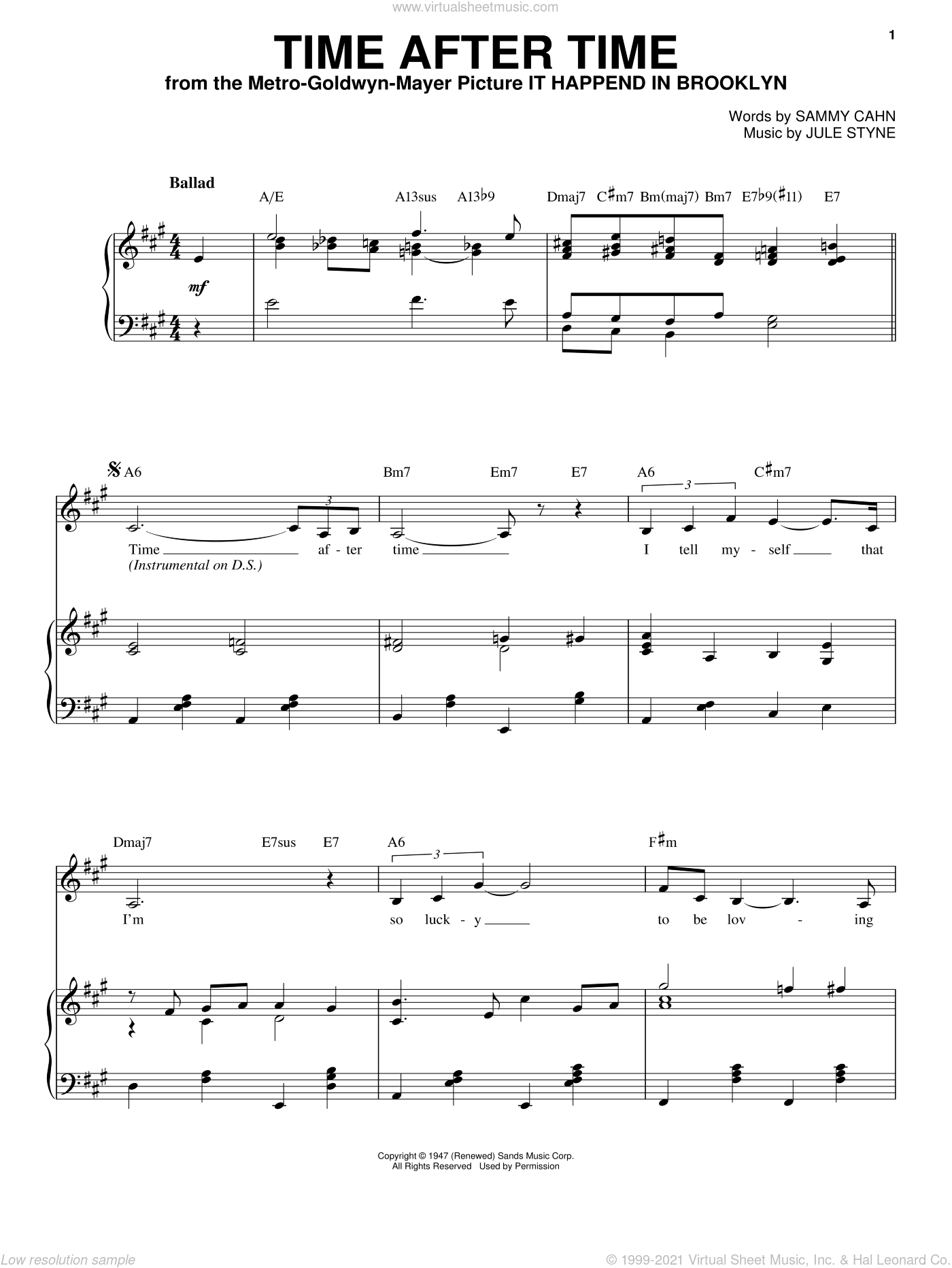 Time After Time sheet music for voice and piano by Frank Sinatra, Jule Styne and Sammy Cahn, wedding score, intermediate skill level