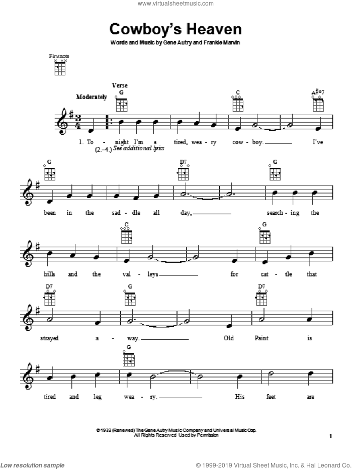 Cowboy's Heaven sheet music for ukulele by Gene Autry and Frankie Marvin, intermediate skill level