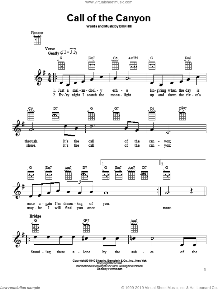 Call Of The Canyon sheet music for ukulele by Gene Autry and Billy Hill, intermediate. Score Image Preview.