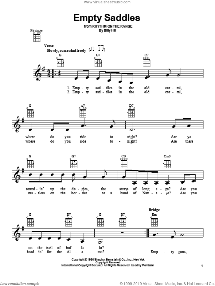 Empty Saddles sheet music for ukulele by Billy Hill, intermediate skill level