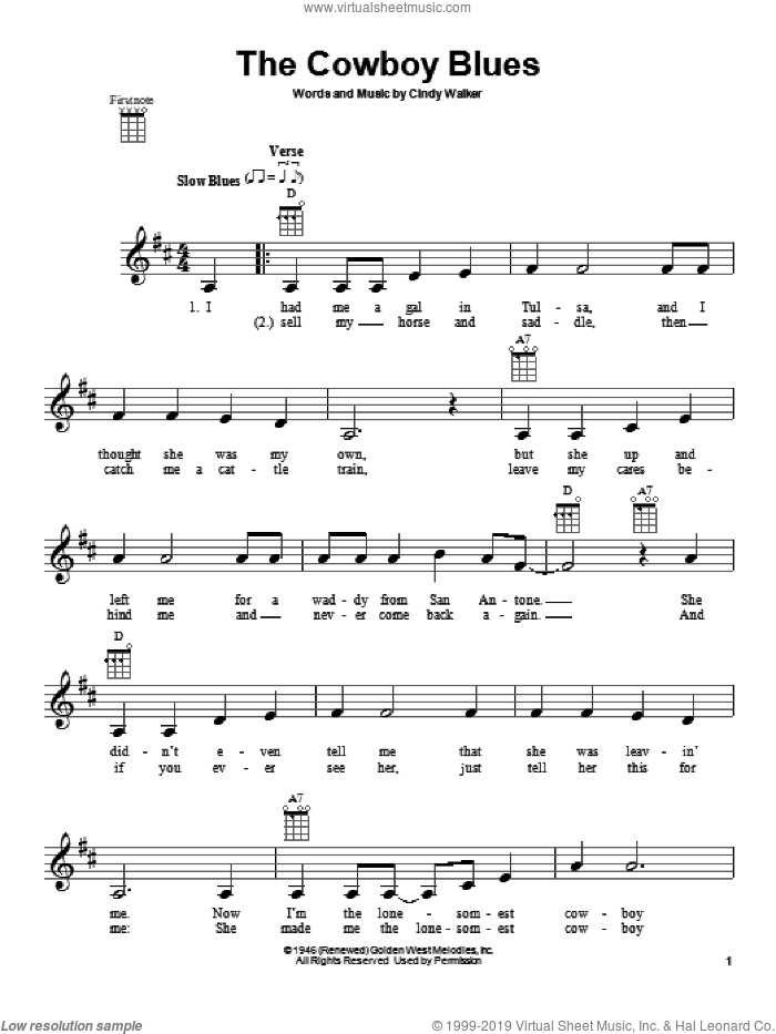 The Cowboy Blues sheet music for ukulele by Cindy Walker. Score Image Preview.