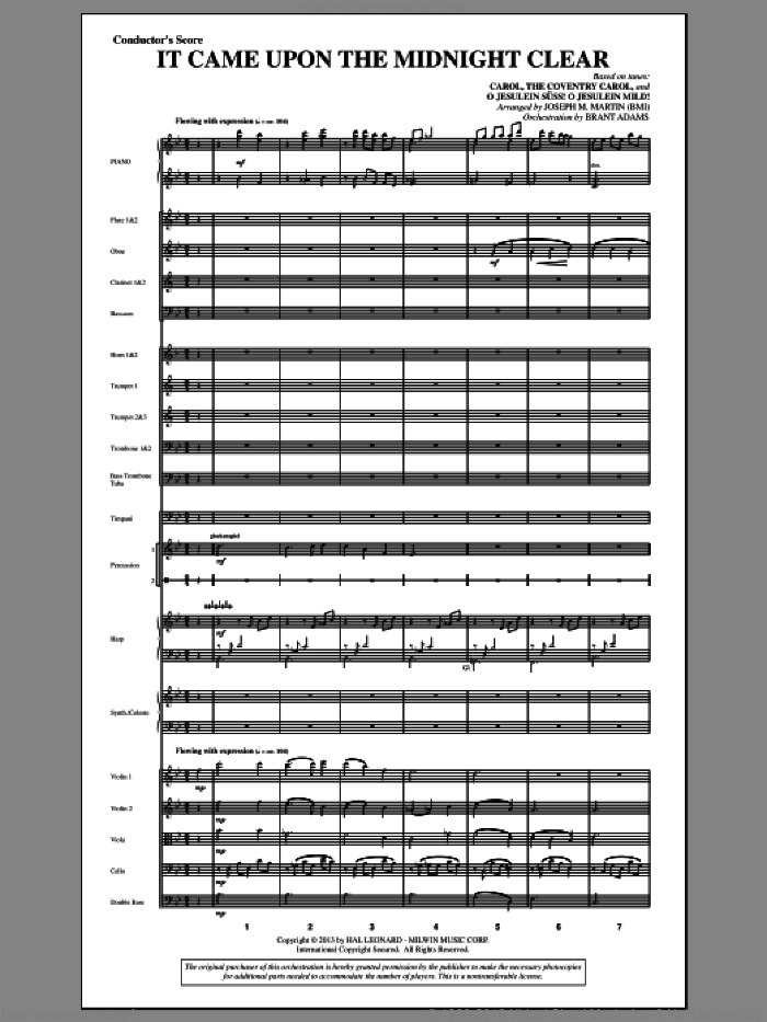 It Came Upon The Midnight Clear (from A Symphony Of Carols) (COMPLETE) sheet music for orchestra/band by Joseph Martin and Joseph M. Martin, intermediate skill level
