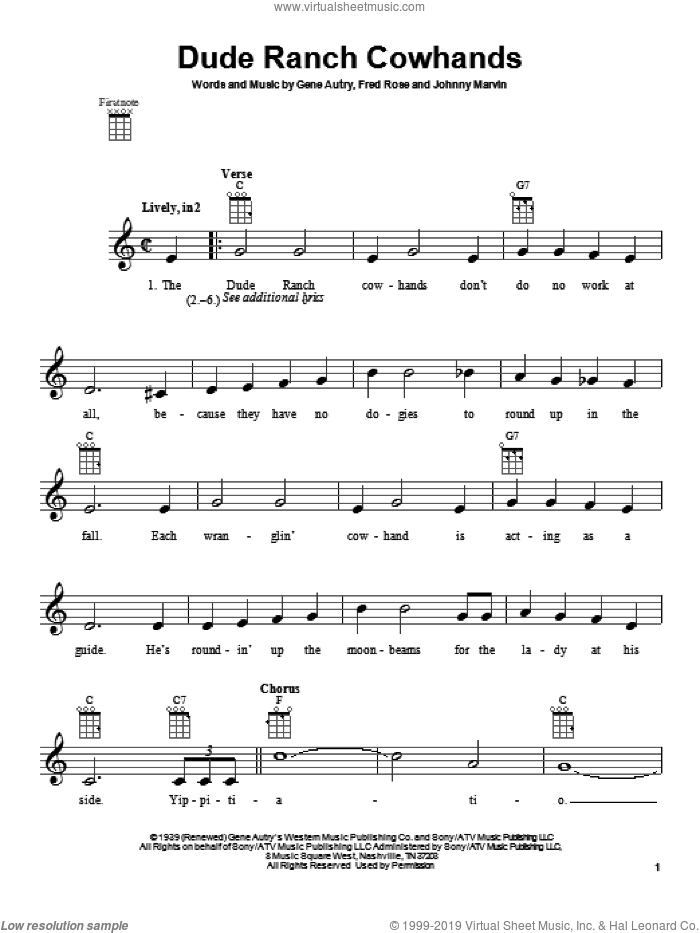 Dude Ranch Cowhands sheet music for ukulele by Gene Autry. Score Image Preview.